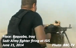 Sadr Army fighter firing at ISIS at Baqubah, Iraq