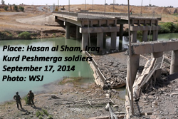 ISIS destroyed bridges at Hassan al Sham, Iraq