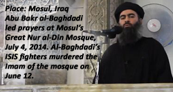 ISIS leader al-Baghdadi preaches a sermon in the Grand Mosque in Mosul, Iraq, where his ISIS fighters murdered the Imam three weeks before