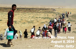 Yazidi refugees near Mt. Sinjar, Iraq, Iraq