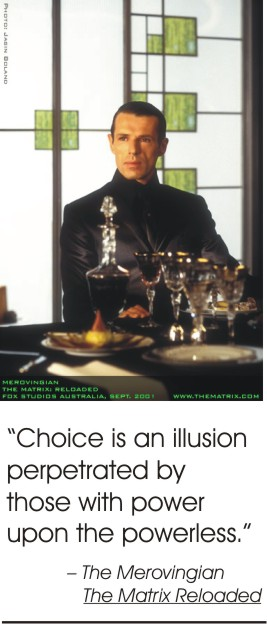 "Lambert Wilson as The Merovingian in ""The Matrix Reloaded"", with quotation"