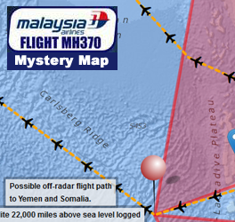 Flight MH370 Mystery Map