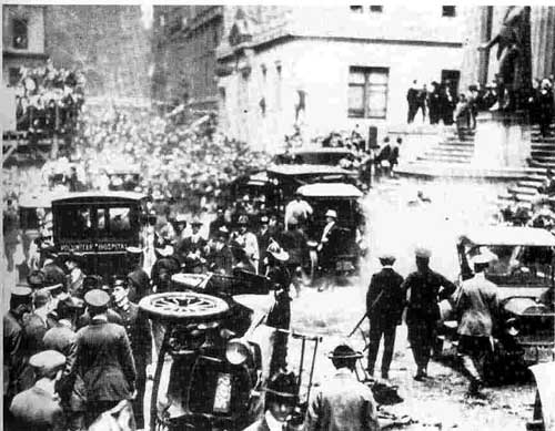 The scene outside the House of Morgan in New York moments after a bomb exploded in September 1920