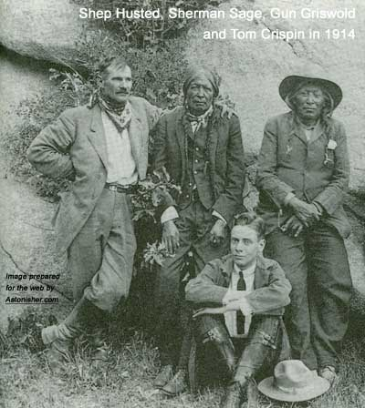 Arapaho warrior Sherman Sage with Shep Husted, Gun Griswold and Tom Crispin