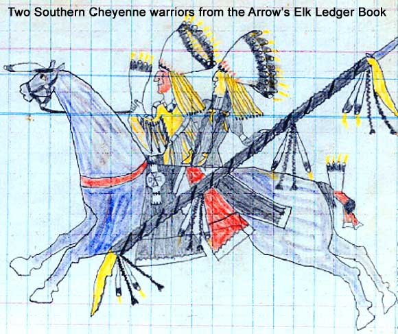 Two Southern Cheyenne warriors from the Arrow's Elk Ledger