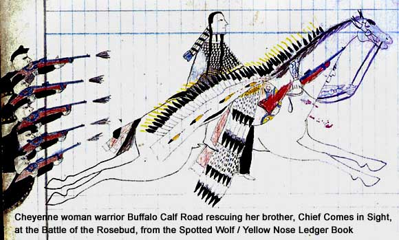 Pictograph of Cheyenne woman warrior Buffalo Calf Road Woman at the Battle of the Rosebud, from the Spotted Wolf / Yellow Nose Ledger book