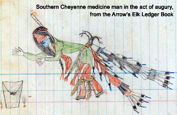 Southern Cheyenne medicine man in the act of augury, from the Arrow's Elk Ledger