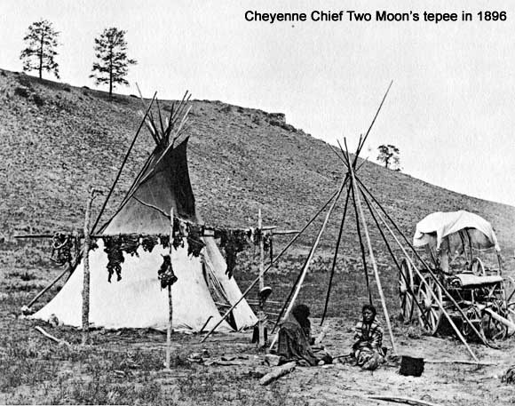 Cheyenne Chief Two Moon's tepee in 1896