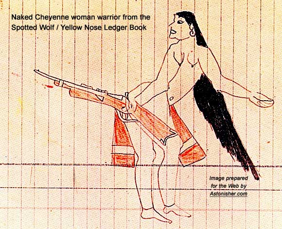 Pictograph of a naked Cheyenne woman warrior, from the Spotted Wolf / Yellow Nose Ledger book