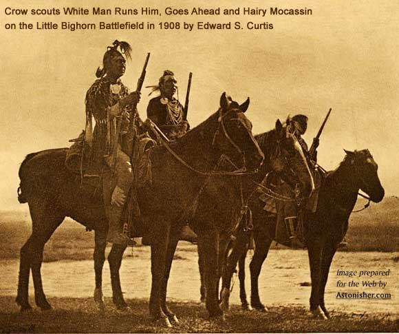 Crow scouts White Man Runs Him, Curley and Hairy Mocassin by Edward S. Curtis