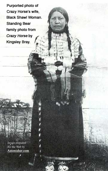 Crazy Horse's wife, Black Shawl Woman, in a Standing Bear family photo.