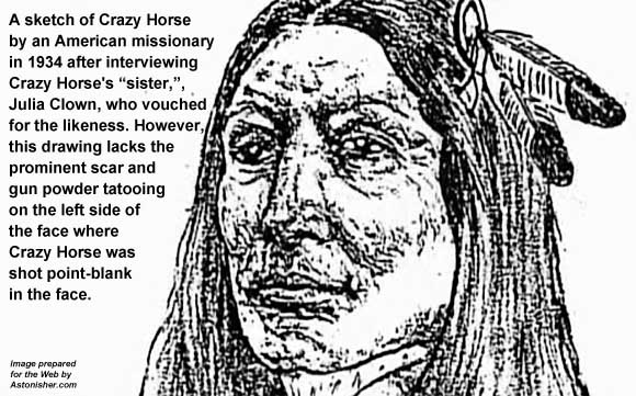 1934 drawing of Crazy Horse by a missionary after interviewing CRazy Horse's sister.
