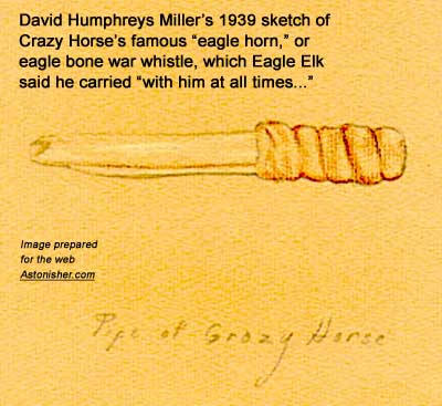 "David Humphrey Miller's 1939 sketch of Crazy Horse's famous ""eagle horn,"" or eagle bone war whistle..."
