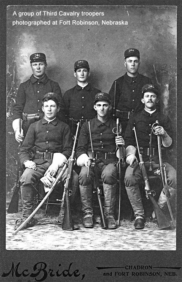 Third Cavalry troopers photographed at Fort Robinson, Nebraska