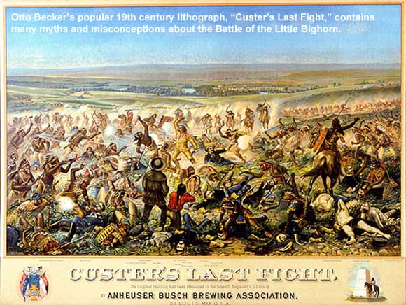 "Otto Becker's lithograph, ""Custer's Last Fight."""