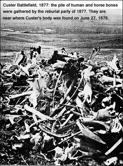 Bones of the dead piled on the Little Bighorn battlefield in 1877