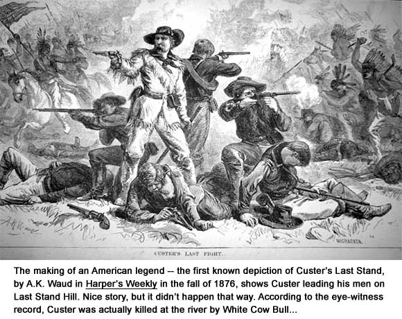 "Custer's Last Fight"" by A.K. Waud from Harper's eekly, fall 1876"