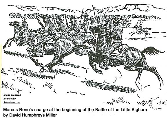 Marcus Reno's charge at the beginning of the Battle of the Little Bighorn by David Humphreys Miller