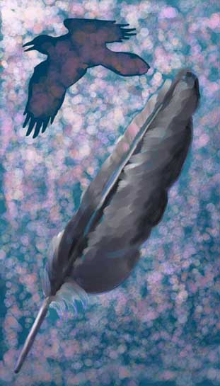 """Raven Flying in the Moonlight"" by Bruce Brown"