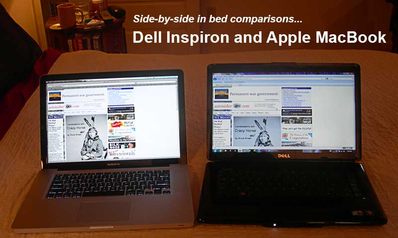 Side-by-side in bed tests -- Dell Inspiron & Apple MacBook