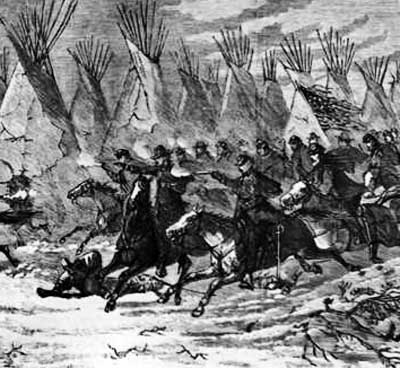 Detail from the Custer At Washita from Harper's Weekly, December 19, 1868