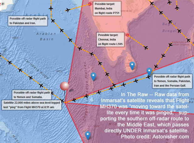 Malaysia Airlines Flight MH370 map